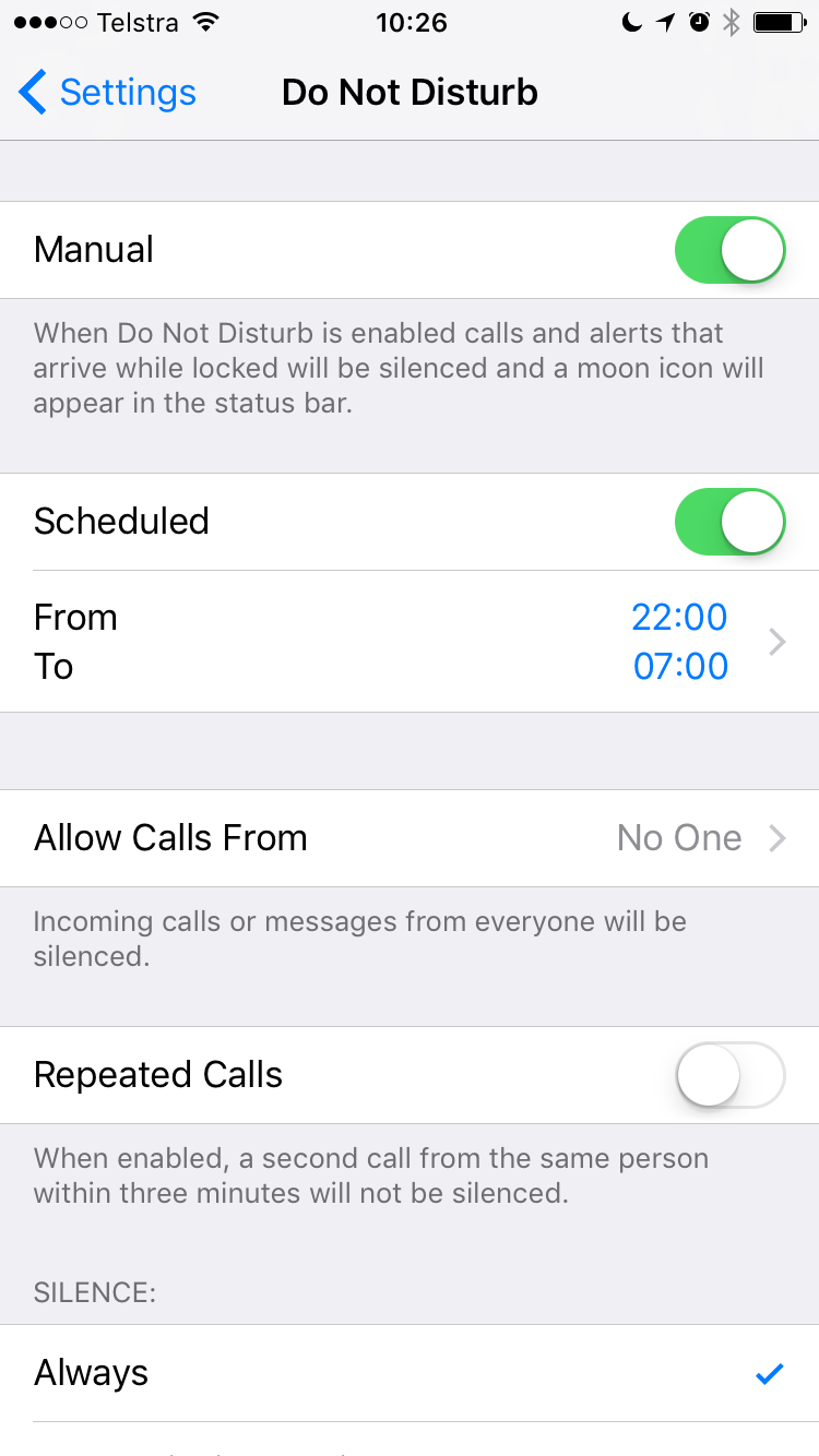 IoS Do Not Disturb screenshot